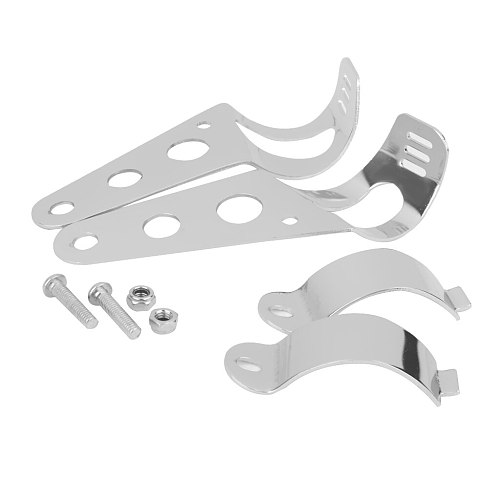 Pair 35mm-43mm Motorcycle Chrome Holder Headlight Mounting Brackets Support