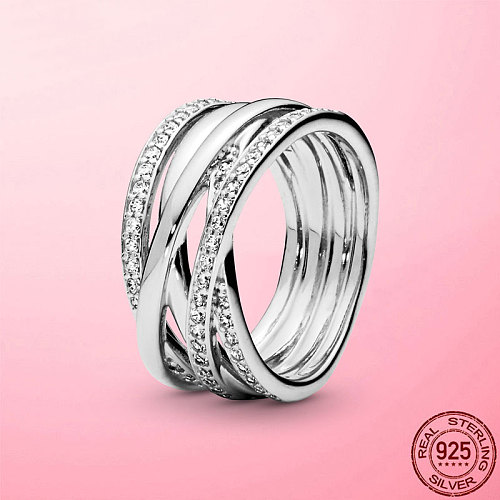 Female Ring 2021 New 925 Sterling Silver Sparkling & Polished Lines Finger Ring for Women Wedding Engagement Jewelry Gift Anel