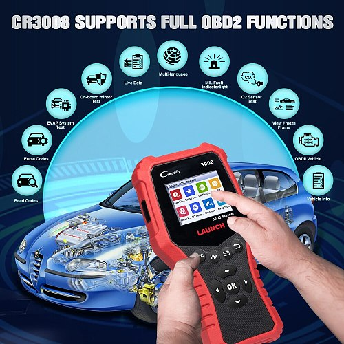 LAUNCH X431 CR3008 Full obd2 scanner auto OBDII EOBD Code Reader diagnostic tools Check Engine Battery For Cars PK CR3001 KW850