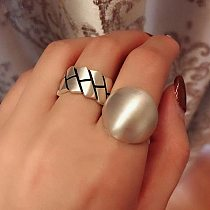 Punk Trendy Silver Color Metal Large Ball Smooth Rings for Women Girls Dinner New Fashion Creative Birthday Party Jewelry Gifts
