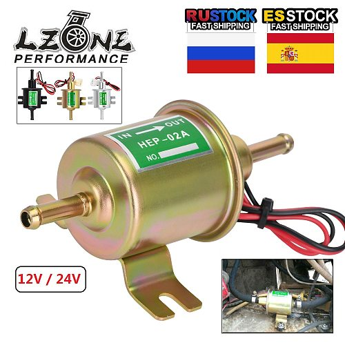 LZONE - New 12V / 24V Electric Fuel Pump Low Pressure Bolt Fixing Wire Diesel Petrol HEP-02A For Car Carburetor Motorcycle ATV