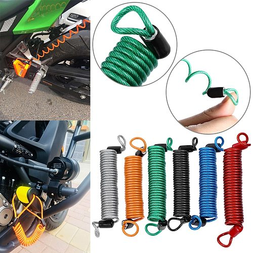 Bike Motorcycle PVC Colorful Alarm Disc Lock Security Spring Reminder Cable Scooter Anti Thief Protection Motorcycle Accessory