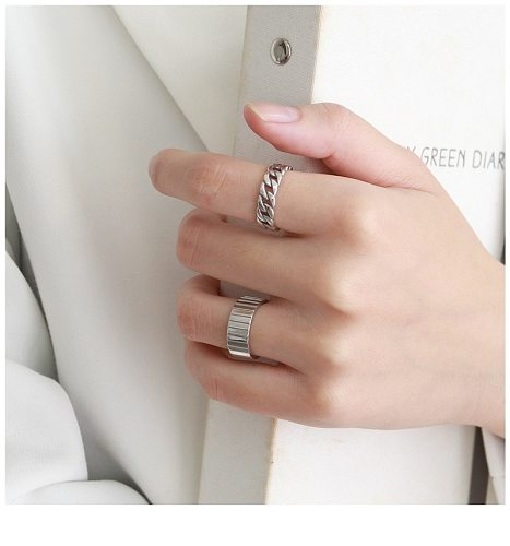 s925 sterling silver open ajustable ring ins Korean style wild minimalist aperture smooth ring mix and match hipster ring