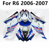 Motorcycle for YAMAHA R6 2006 2007 Bodywork Cowling Injection ABS YZF1000 06 07 Full Fairing Kits Blue White Gradient Sticker