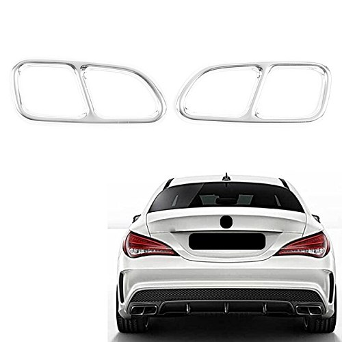 Stainless Steel Car Rear Tail Throat Decor Frame Car Exhaust Pipe Trim Cover Stickers for Benz CLA SLK