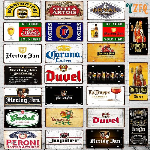 【YZFQ 】30X15CM Belgian Beer Metal Sign License Plate  For Wall Home  Restaurant Craft Decor DC-1636A