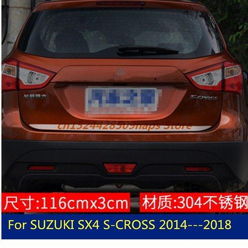 Tailgate Rear Door Bottom Cover Molding Trim Stainless Steel back door trim car Accessories For SUZUKI SX4 S-CROSS 2014---2018