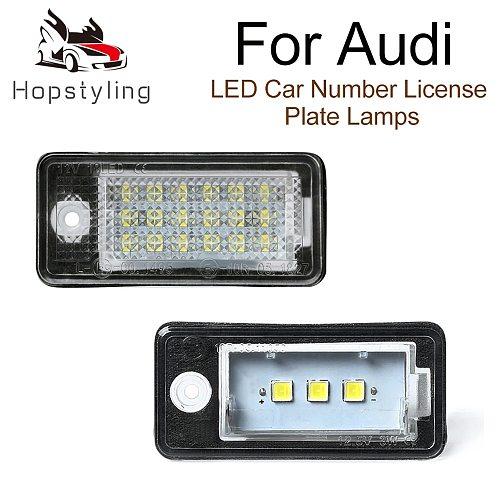 2Pcs Error Free LED License Number Plate Light Lamps For Audi A6 4F RS6 C6 A4 B6 B7 S4 RS4 A3 8P Q7 4L A5 8F A8 4H S8 D4