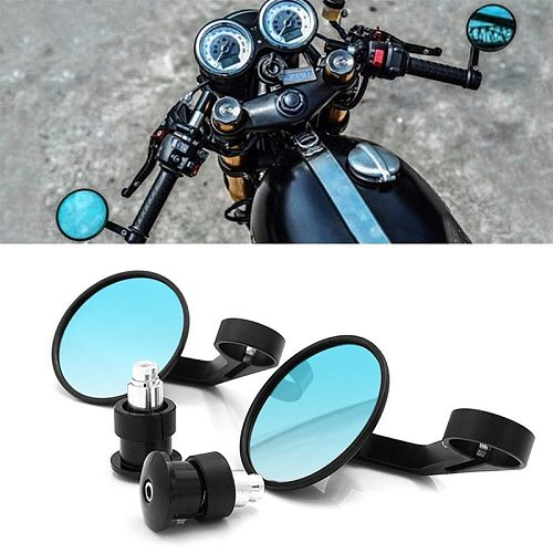 Universal 7/8  Round Bar End Rear Mirrors Moto Motorcycle Motorbike Scooters Rearview Mirror Side View Mirrors FOR Cafe Racer