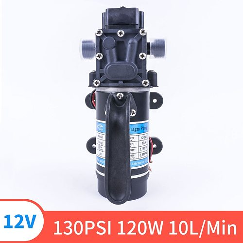 12V 24V 120W 130PSI 10L / Min Type Electric Water FIlm High Pressure Self-Priming Pump For Garden Return Valve