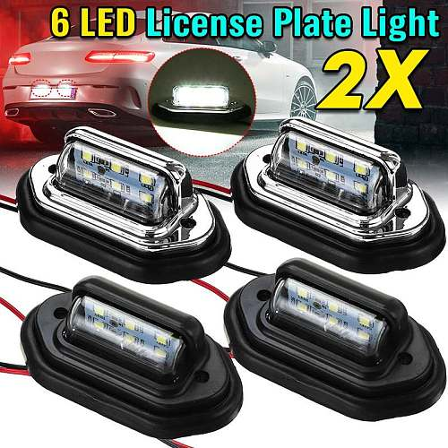 2pcs 12V 24V Waterproof 6 LED Car License Plate Light Signal Tail Light Lamp Boat Truck Trailer SUV VAN Caravan Sliver / Black