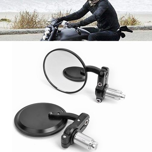 2Pcs Universal Motorcycle Mirror Aluminum Black 22mm Handle Bar End Rearview Side Mirrors Motorcycle Accessories