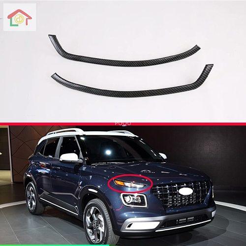 For Hyundai Venue 2019 2020 Car Accessories Carbon Fiber Style Headlamp lamp eyebrow trim molding