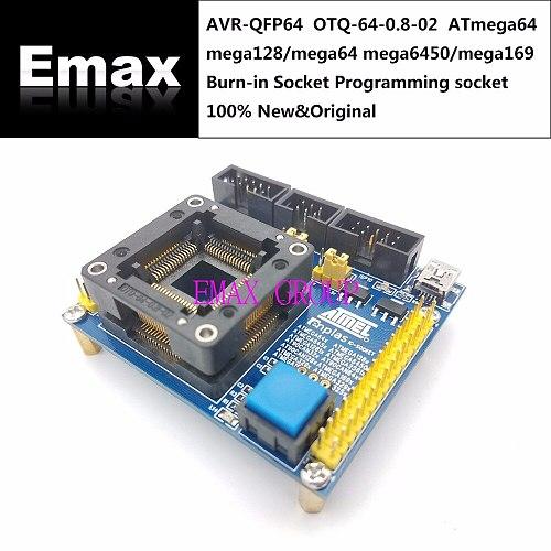 AVR-QFP64 OTQ-64-0.8-02 ATmega64 mega128/mega64 mega6450/mega169 Burn-in Socket Programming socket seat Test Socket test bench