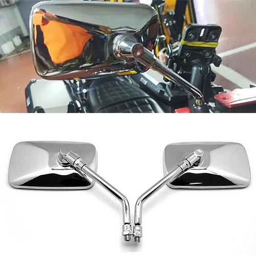 2 Pcs 10mm Motorcycle Rear Side View Mirrors Universal Rectangle Shaped Motorcycle Handlebar Rear View Side Mirrors