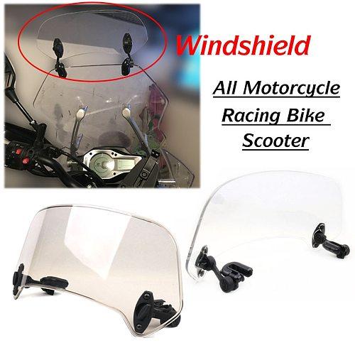 Universal Motorcycle Scooter Adjustable Clip On Windscreen Windshield Extension Spoiler Wind Deflector Adjustable Lockable