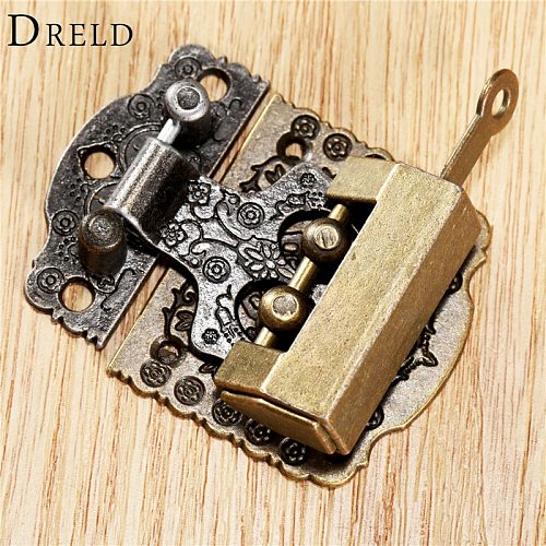 2Pcs Chinese Brass Hardware Vintage Bronze Wooden Box Cabinet Toggle Latch Hasp+Antique Chinese Old Lock Furniture Accessories