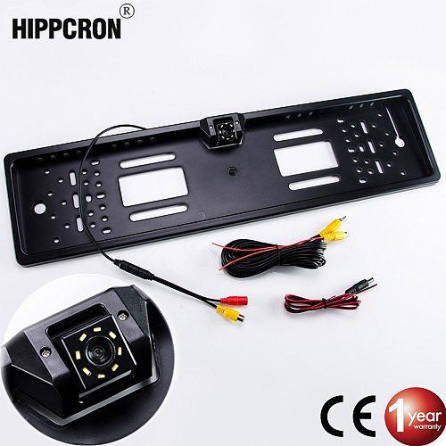 Hippcron Car Frame Camera Plate License EU Euro Type Night Vision Rear View Reverse Camera Parktronic Back Up Waterproof LED