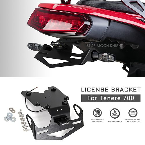 Motorcycle License Number Plate Frame Holder Bracket For YAMAHA Tenere 700 T7 XTZ700 XT700Z TX690Z XTZ690 2019 2020 2021