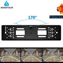 Smartour 170 Degree Waterproof European License Plate Frame Backup Car Number Rear View Camera 12LED Night Vision Car-styling