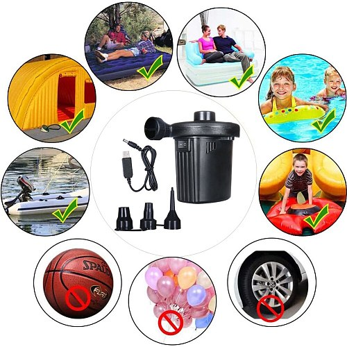 Portable USB Rechargeable Inflator Electric Air Pump Household Mattress Car Auto Air Inflatable Pump Inflator with 3 Nozzles