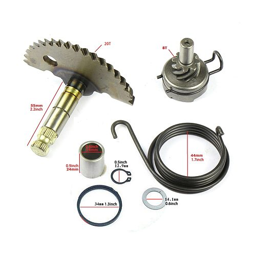 55mm Kick Starter Engine Motorcycle Scooter Moped Starting Shaft Kit for 50cc 60cc 80cc 90cc GY6 139QMB ATV Dirt Bike(20T+8T)