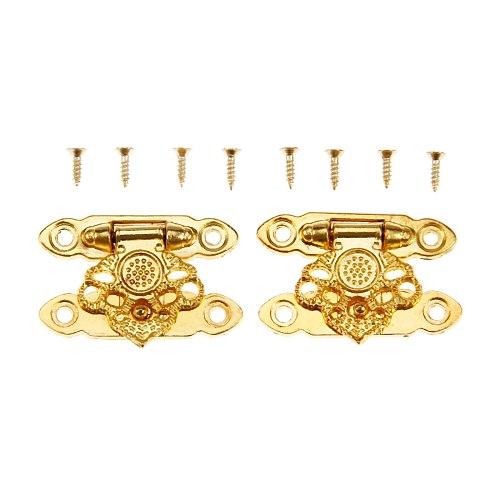 DRELD 2Pcs Gold Jewelry Box Hasps Lock Catch Latches Padlock Flower Wooden Wine Gift Box Handbag Buckle Vintage Hardware