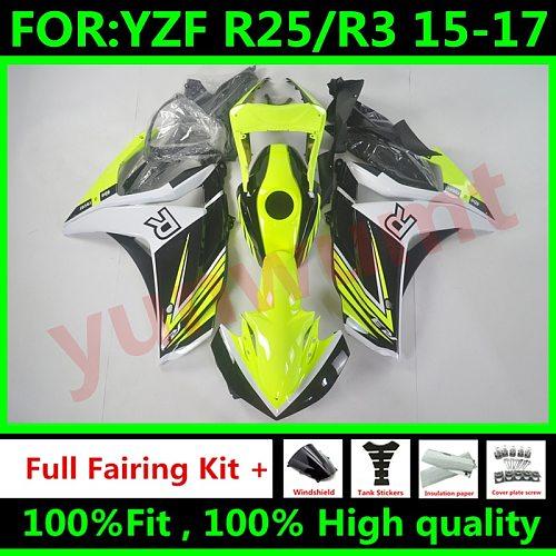 New ABS Full Fairings Kit Fit For Yamaha YZF R3 2015 2016 2017 R25 2015 2016 2017 R3 R25 Bodywork set Free custom yellow black