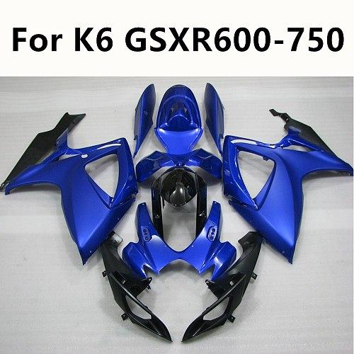6 Colour Motorcycle Full Fairing Kit Bodywork Kit ABS Cowling For Suzuki GSXR600 GSXR750 GSXR 600 K6 06 07 All blue