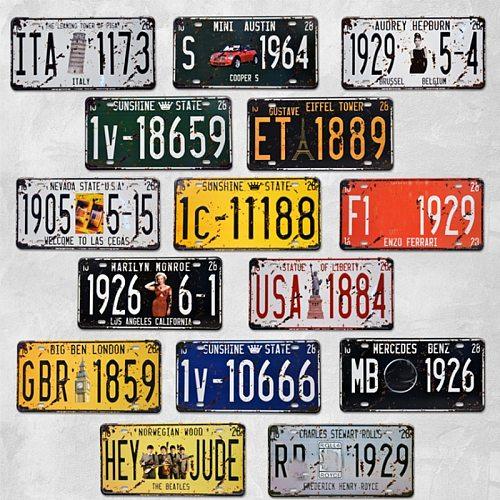 1pc Retro Metal Poster Car Number License Vintage Plate Bar Club Wall Decor 15*30cm USA Motorcycles Pub Garage Tin Plaques Signs