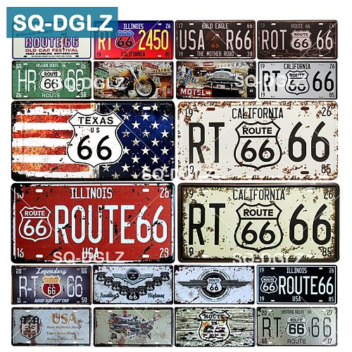 [SQ-DGLZ] Hot Route 66 License Plate Store Bar Wall Decoration Tin Sign Vintage Metal Sign Home Decor Painting Plaques Poster