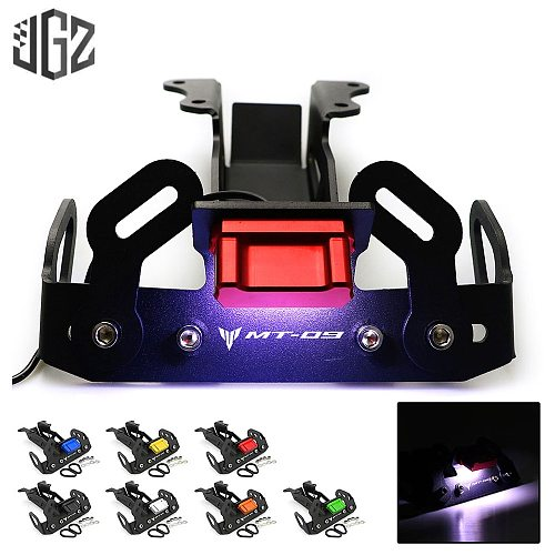 Motorcycle CNC Aluminum License Plate Holder Rear Bracket Frame Tail with LED Light for YAMAHA MT09 2014 2015 2016 Accessories