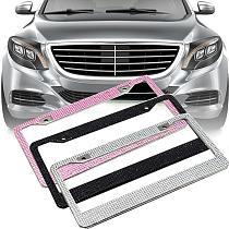 30.5cm x 16cm Stylish Glitter Rhinestones American Car Vehicle Rear License Plate Frame Decor Car Styling Car Accessories