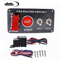 Hot Sale Universal 12V LED Toggle Ignition Switch Panel Engine Start Push Button Set Racing Car Accessory For 12V Power