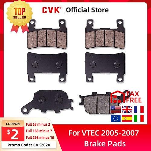 CVK 1 Set High Quality Brake Pads Disks Shoes Front And Rear FOR Honda CB400 VTEC 400 2005 2006 2007 VTEC400 III 05 06 07