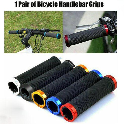 2PCS Bike Mountain Road Cycling Bike Bicycle MTB Handlebar Cover Grips Smooth Soft Rubber Antislip Handle Grip Lock Bar End#40