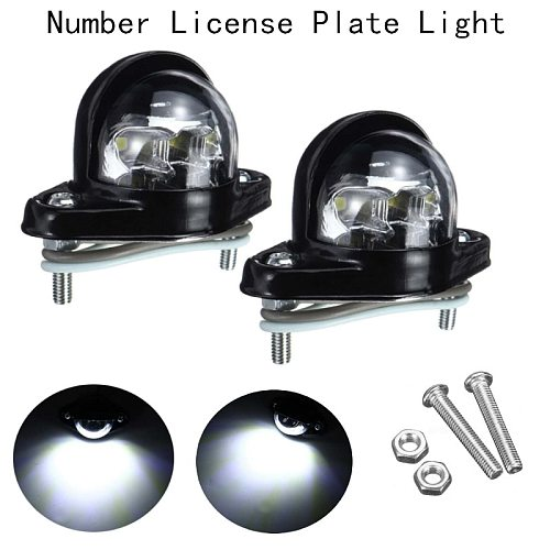 2Pcs Universal Number Plate License Lamp Light 6 LED 12/24V For Trailer Truck Caravan Vans Reflector  White Bright Waterproof