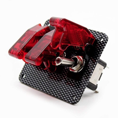 12V Toggle Switch Racing Ignition Engine Relays Switches Carbon Fiber Surface Panel Car with LED Indicator,Red
