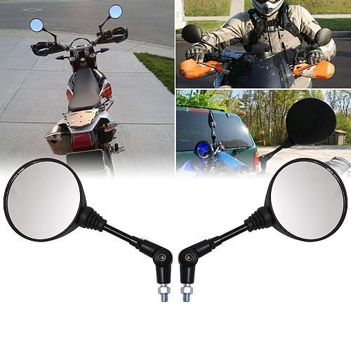 Motorcycle Black Universal 10mm Side Mirror Rearview Mirror Anti-fall Folding Round Mirror motorcycle mirror
