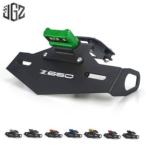 Motorcycle Rear License Plate Frame Tail Holder with LED Light Mount Bracket for KAWASAKI Z650 2017 2018 2019 2020 Accessories
