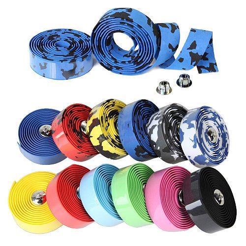 2pcs Bicycle Handlebar Tape Cork Handlebar Tape Steering Wheel Cover Cycling Handle Non-slip Belt Rubber Tape Bike Bandage