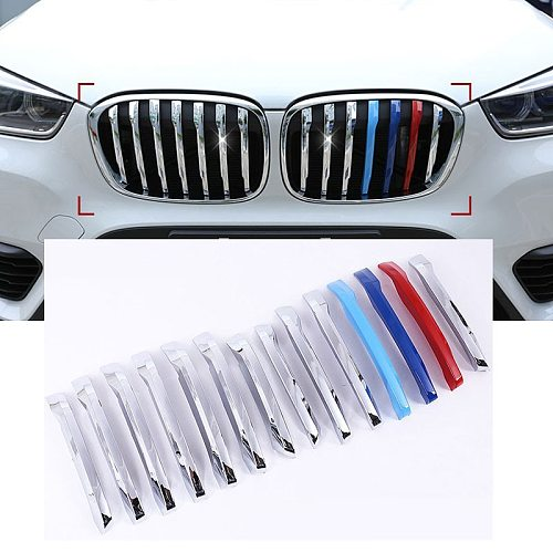 14pcs Front Grill Cover Decoration Trim For BMW X1 F48 2016 2017 ABS Chrome Accessories Car Styling New Arrivals
