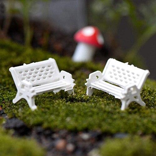 White bench fairy garden miniature decoration park seat moss succulent micro landscape ecological bottle accessories 2021 #5
