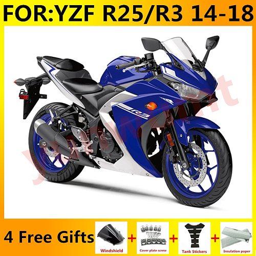 New ABS Motorcycle Full Fairings Kit Fit For Yamaha YZF R3 2015 2016 2017 2018 YZF R25 15 16 17 18 fairing Bodywork blue white