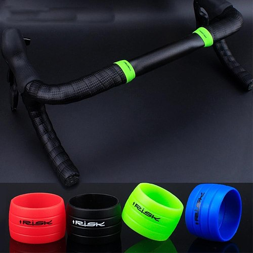 1 Pair Cycling Handlebar Tape Fixing Sleeve Silicone Rubber Anti-Skip Road Bike Plugs Waterproof Protective Ring Bicycle Tools
