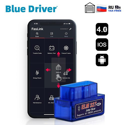 Blue Driver Mini Bluetooth ELM327 V2.1 for iPhone Free Update Automotive OBD2 Diagnostic Scanner Check Engine Code Reader