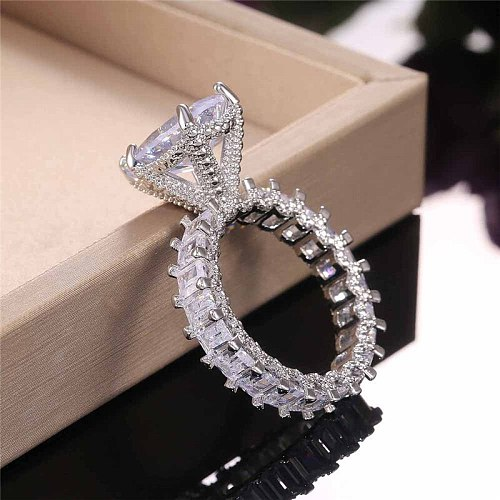 Modyle Solitaire Big Water Drop Pear Cubic Zirconia Ring for Women Micro Paved Square CZ Band Luxury Girl Wedding Ceremony Rings