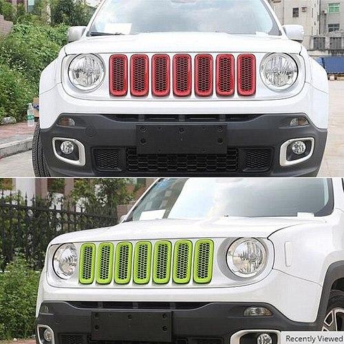 Sansour ABS Honeycomb Insert Trim Front Mesh Grille Cover Front Grille Trim Ring Insert Cover for Jeep Renegade 2015 up