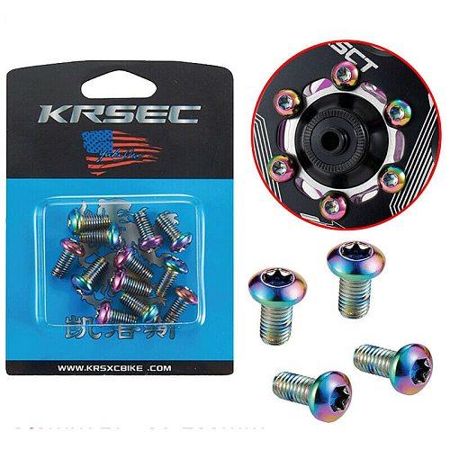 12pcs M5x10mm Disk Brake Rotor Bolts Titanium color Mountain Bike Brakes Disc Rotor Screw Ultralight Bettery Bike Accessories
