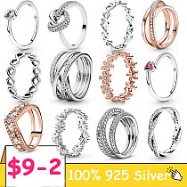 Women Ring Real 925 Sterling Silver infinite Heart Daisy Flower twisted Ring For Women Original 925 Silver Rings Brand Jewelry